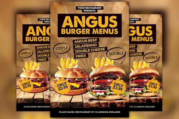 burgers offer food menu flyer template awesomeflyer