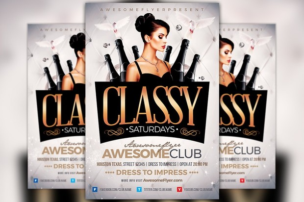 Classy Saturdays Flyer Template Awesomeflyer