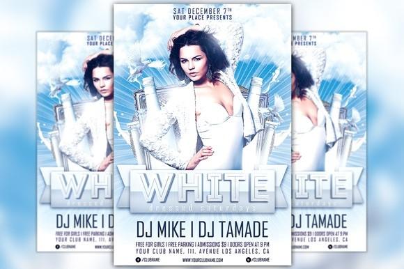 White Dressed Saturdays Flyer Template