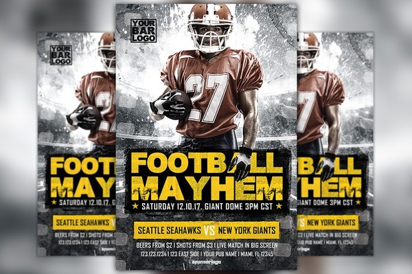 Football Mayhem Vol 2 Flyer Template