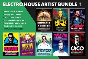 Electro House Artist Flyer Bundle 1