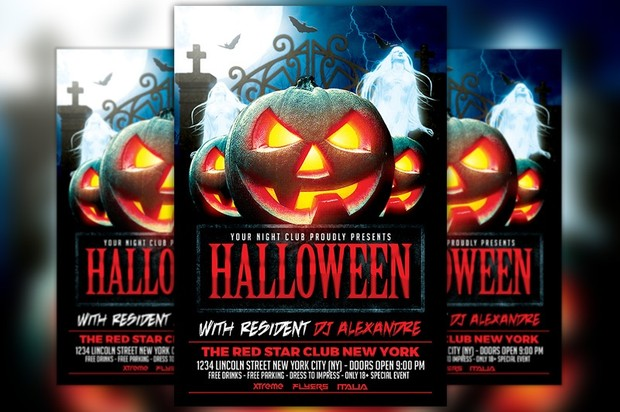 Halloween Nightclub Party Flyer Template