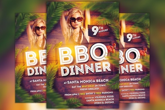 bbq dinner party flyer template awesomeflyer
