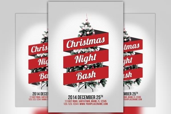 Minimal Christmas Night Bash Flyer Template