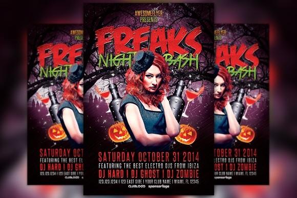 Freaks Night Halloween Party Flyer Template