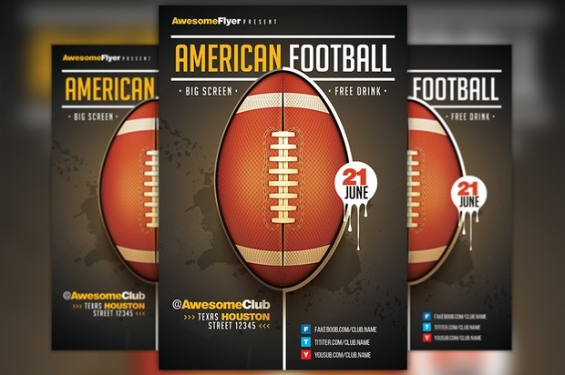 american football flyer template awesomeflyer