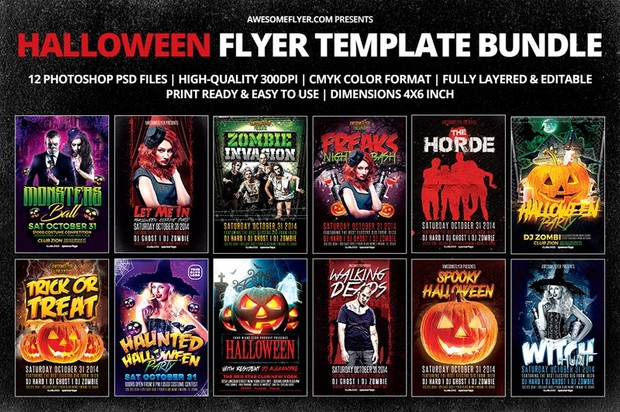 halloween flyer template bundle awesomeflyer