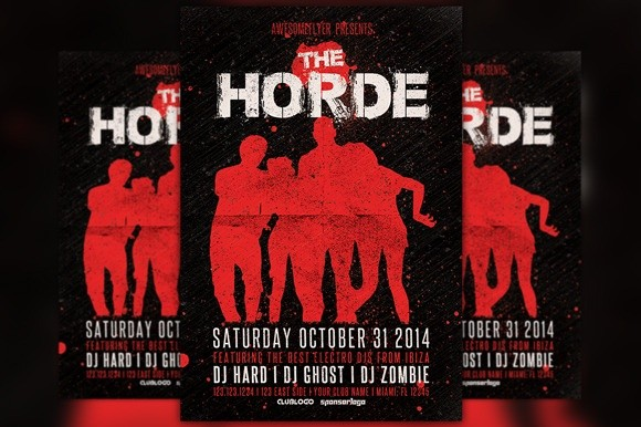 The Horde Halloween Party Flyer Template
