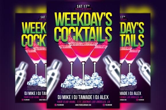 Weekdays Cocktails Flyer Template