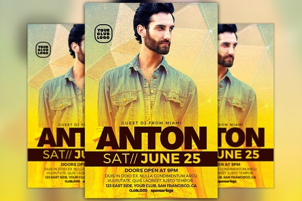 DJ Anton Club Party Flyer Template