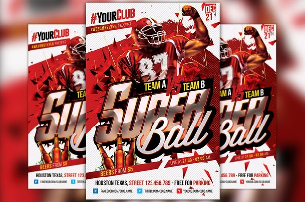 Super Ball Flyer Template