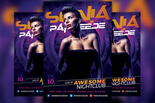 Female DJ Flyer Template