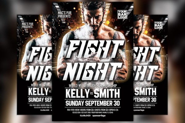 Fight Night MMA Sport Event Flyer Template