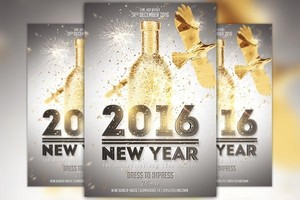 New Year Gold Flyer Template