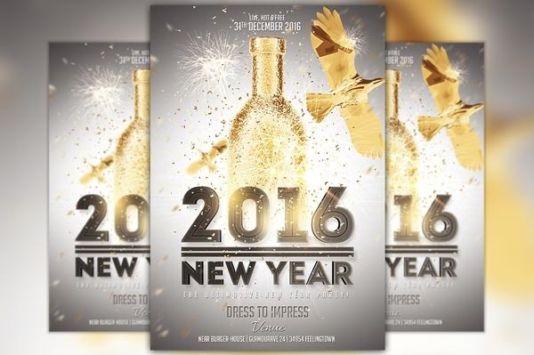 new year gold flyer template awesomeflyer