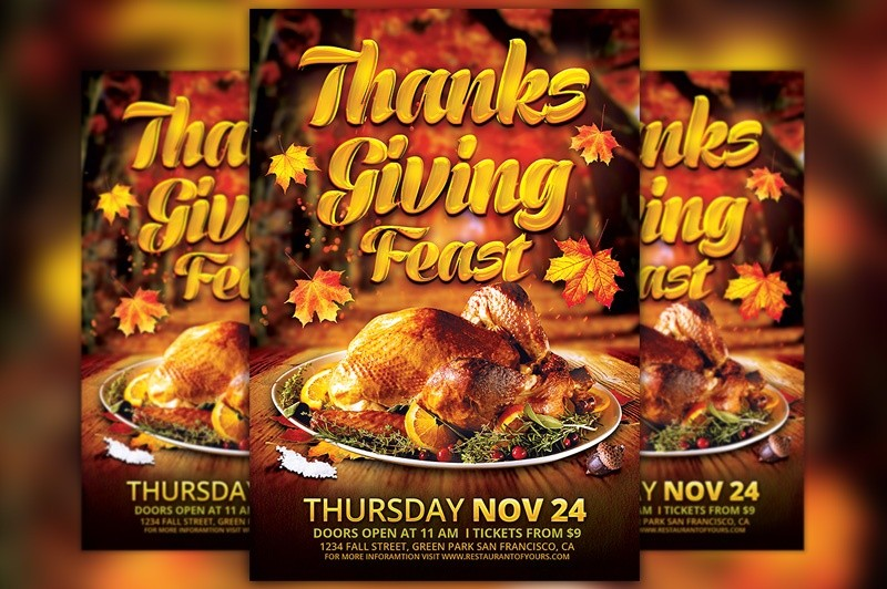 Thanksgiving Feast Flyer Template Awesomeflyer