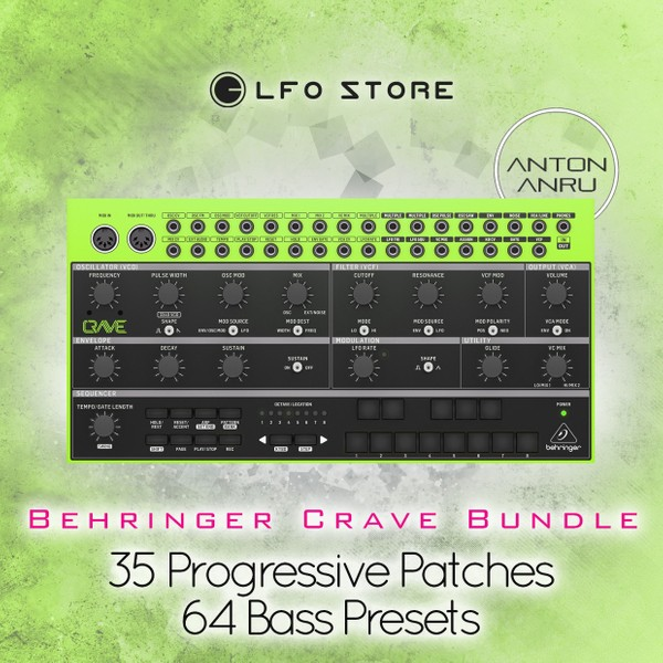 Behringer Crave Bundle: 35 Progressive Patches + 64 Bass Sequences