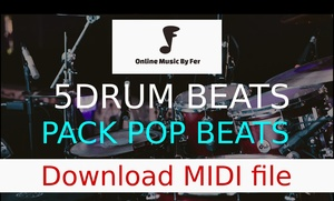 Midi loops - 5 pack drum beats for pop songs