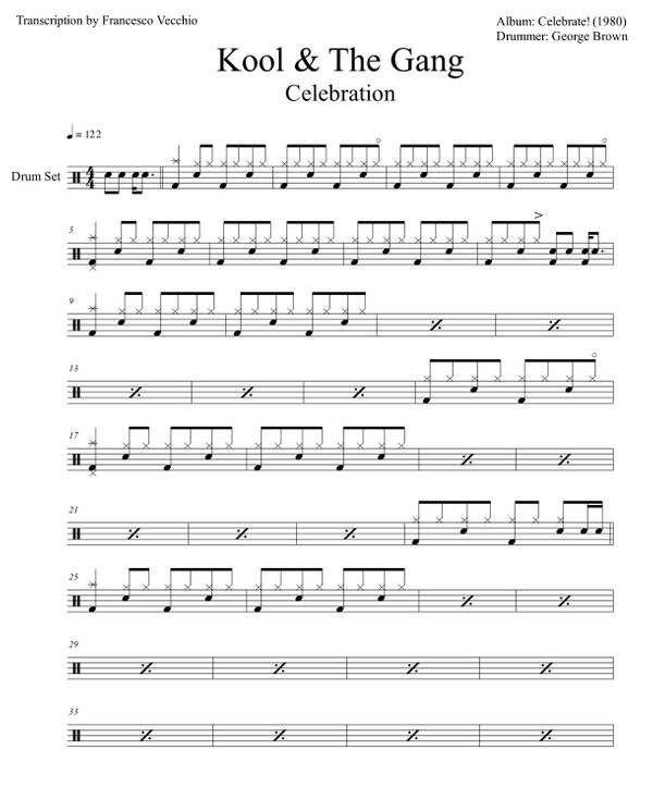 Kool & the Gang - Celebration (Drum Sheet Music)