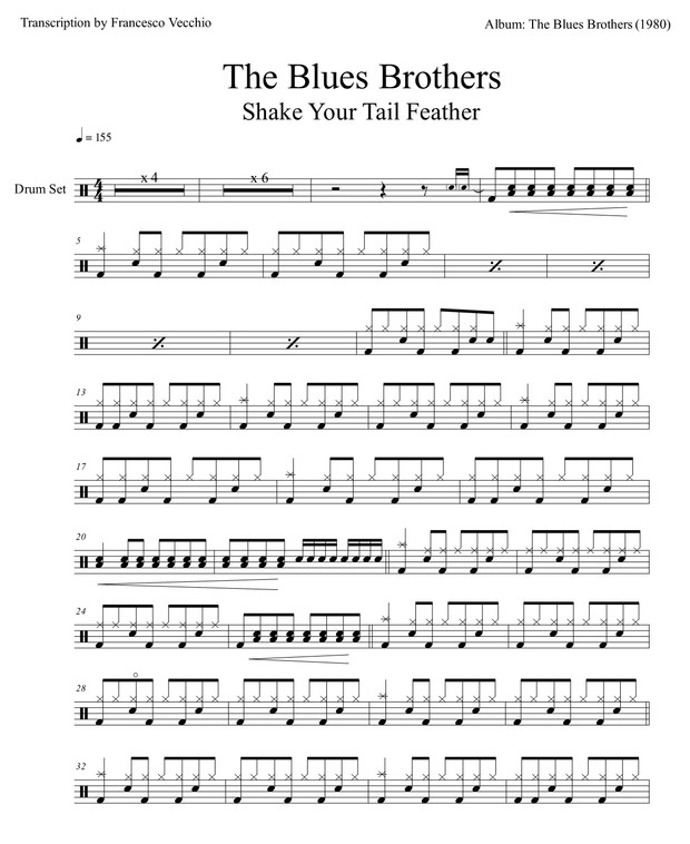 The Blues Brothers - Shake Your Tail Feather (Drum Sheet Music)