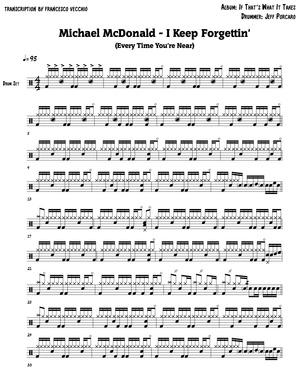 Michael McDonald - I Keep Forgettin' (Drum Sheet Music + Drum Track)