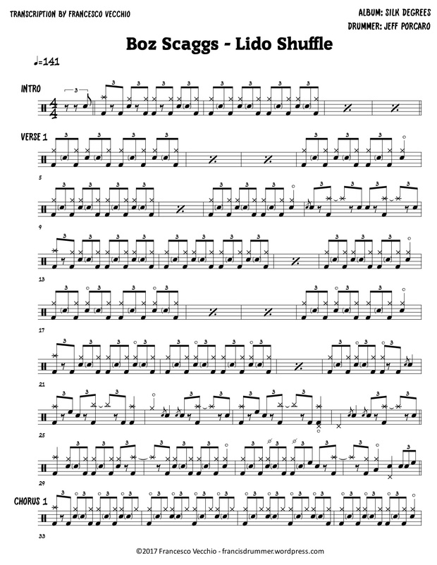 Boz Scaggs - Lido Shuffle (Drum Sheet Music)