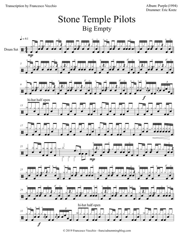 Stone Temple Pilots - Big Empty (Drum Sheet Music)