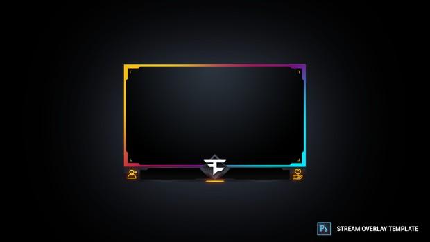 multicoloured facecam stream overlay template