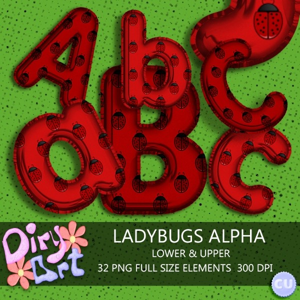 Ladybugs Exclusive Alpha: Lower & Upper + Numbers & Symbols Freebie included