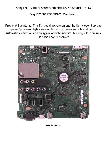 Sony LED TV Black Screen, No Picture, No Sound EASY DIY REPAIR