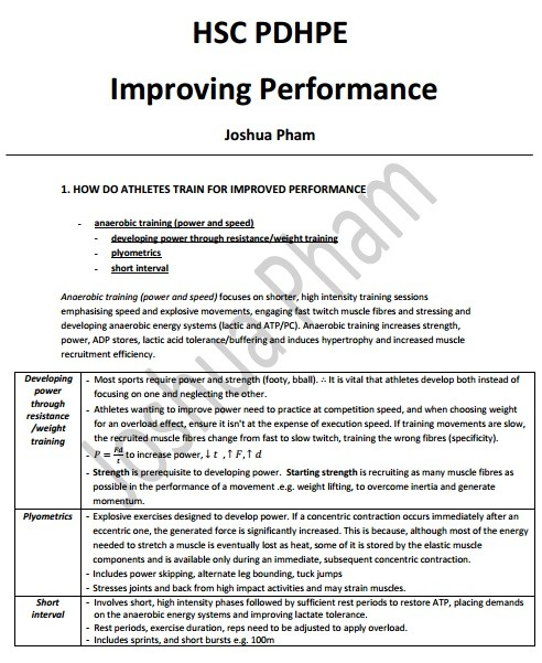 Core 3: Improving Performance Notes