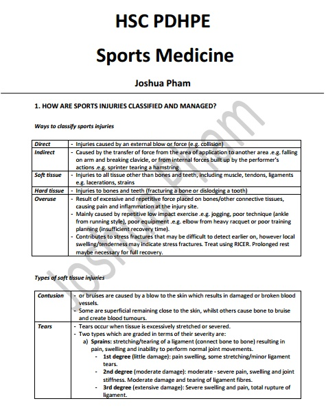sports medicine study notes Hsc pdhpe: sports medicine complete notes state ranking notes (3rd in hsc pdhpe 2015) completed hsc 2015.