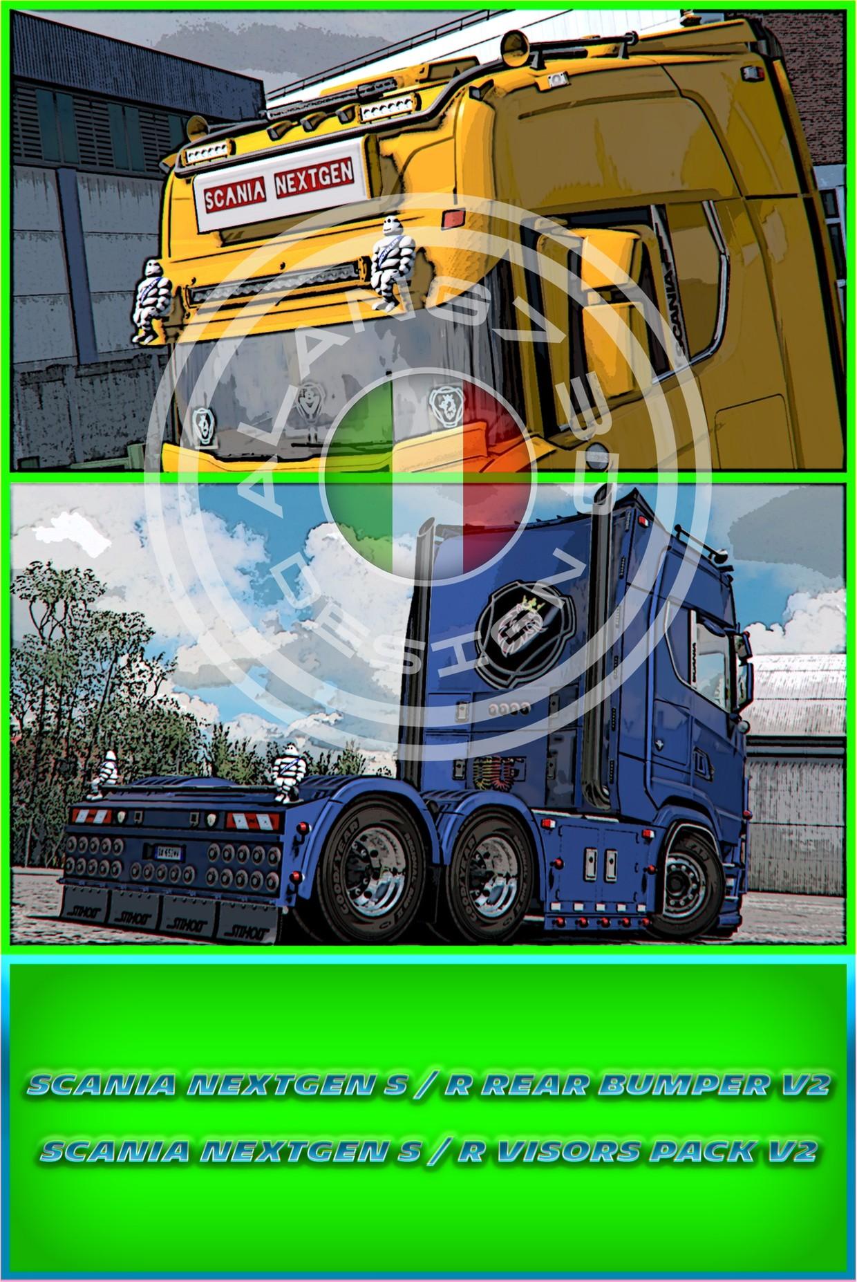 [ETS2 - ADDONS / BUNDLE] Scania S - R NextGen Rear Bumper V2 & Visors Pack V2