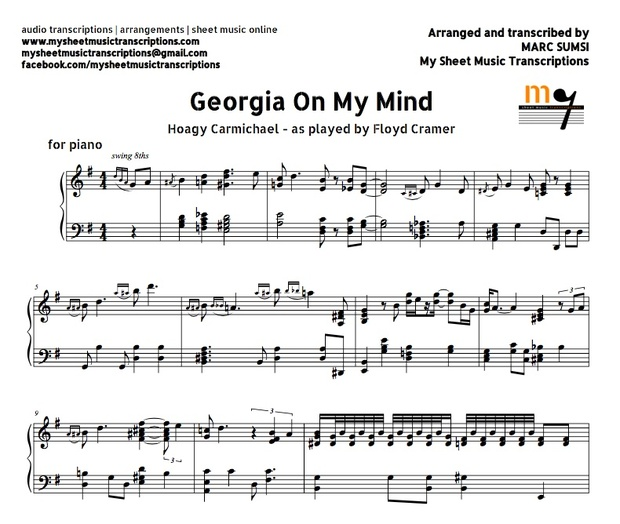 Georgia On My Mind (Jazz Standard) Sheet music ( pdf)