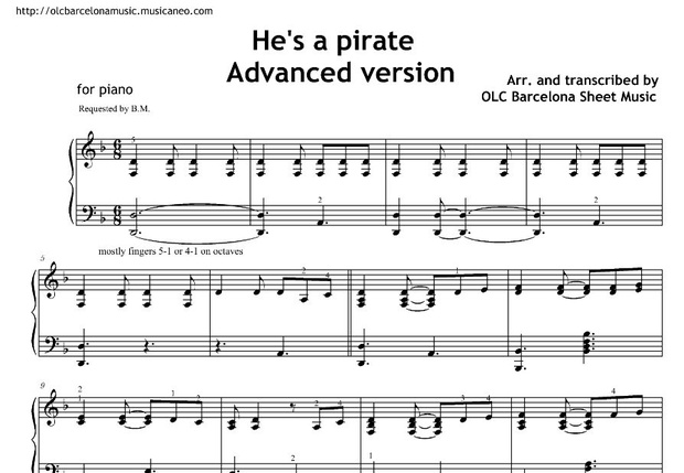 He's a pirate (Pirates of the Caribbean) - sheet music | piano arrangement