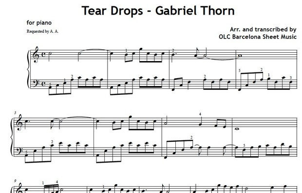 Teardrops (Gabriel Thorn) Sheet music (.pdf)