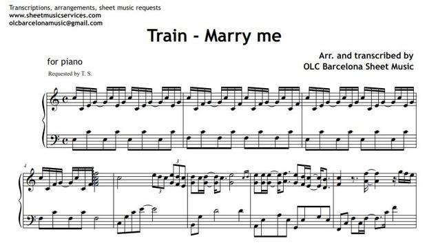 Marry Me Train Sheet Music Pdf