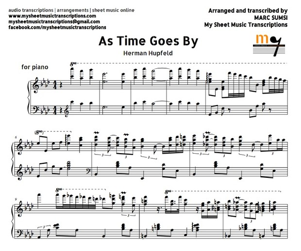 As Time Goes By (From Casablanca, by Herman Hupfeld) Sheet Music