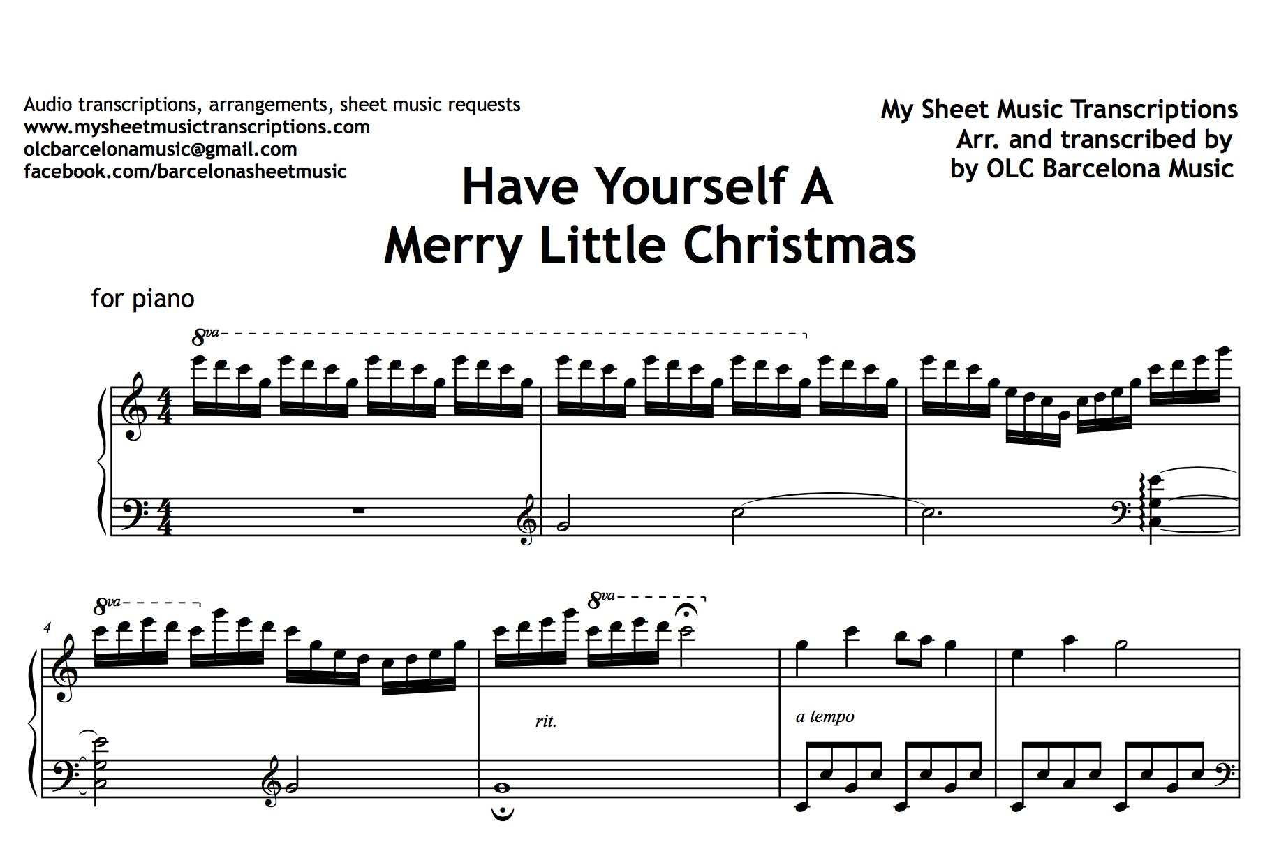 Have Yourself A Merry Little Christmas Sheet Music.Have Yourself A Merry Little Christmas Hugh Martin And Ralph Blane Sheet Music