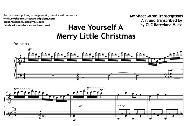 Have Yourself A Merry Little Christmas Piano Sheet Music.Have Yourself A Merry Little Christmas Hugh Martin And Ralph Blane Sheet Music