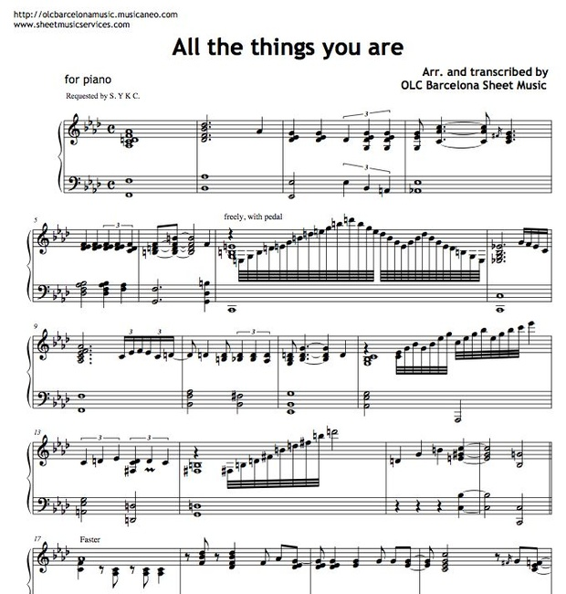 All the things you are - sheet music (piano jazz arrangement )