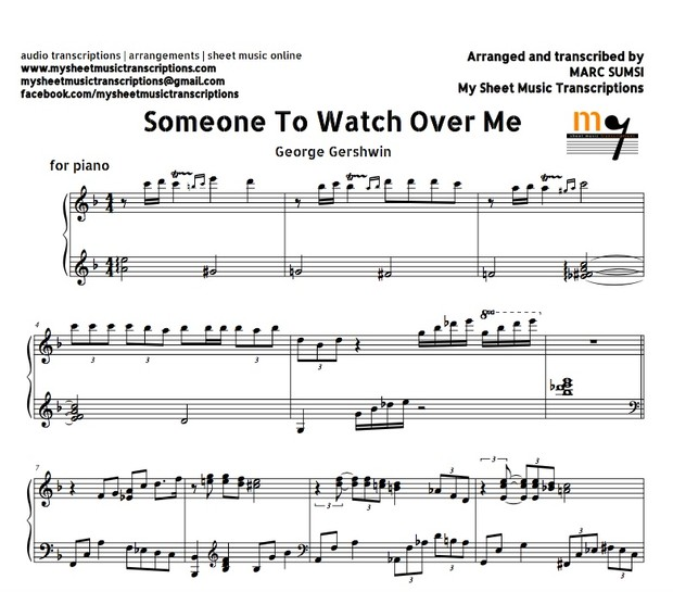 Someone to Watch Over Me (Gerhswin) Sheet music (.pdf)
