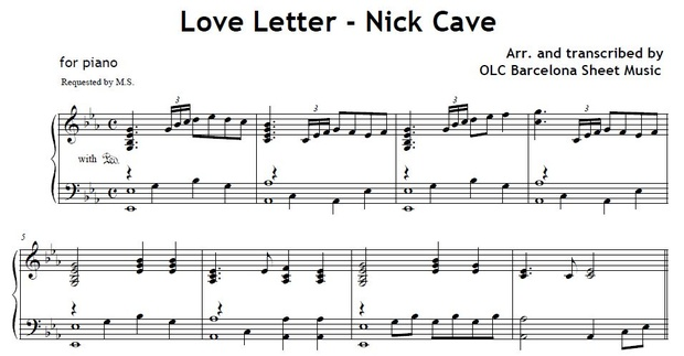 Love Letter (Nick Cave)   piano arrangement   My Sheet Music