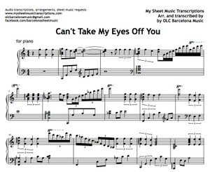 Can't Take My Eyes Off You (Frankie Valli and The 4 Seasons) Sheet music (.pdf)