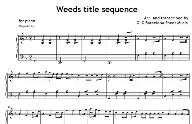 Weeds title sequence - piano sheet arrengement