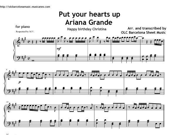 Put Your Hearts Up (Ariana Grande) Sheet music (.pdf)
