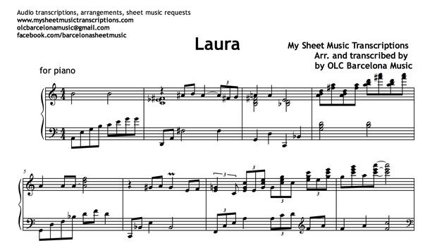 Laura (Jazz Standard) Sheet Music
