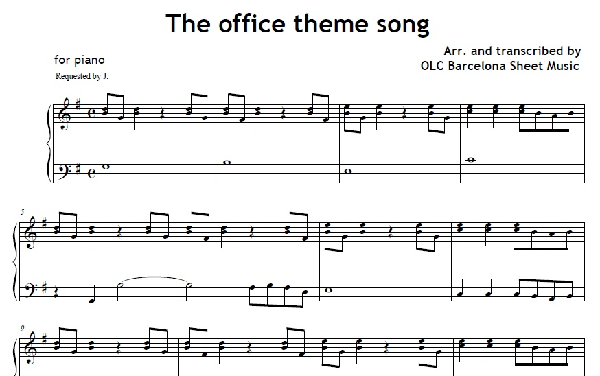 office theme song sheet music