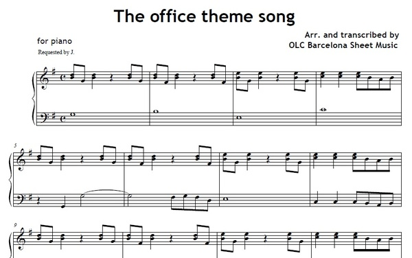 the office theme song - piano sheet music