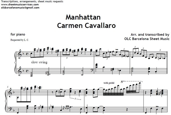 Manhattan (Carmen Cavallero) - piano sheet arrengement